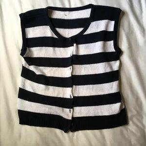 Black and White Stripe Knit Button Down Tank